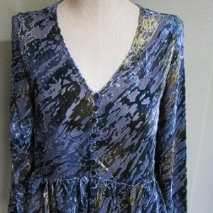 Sundance Velvet Riches Blouse, S, Blue Multi, NEW
